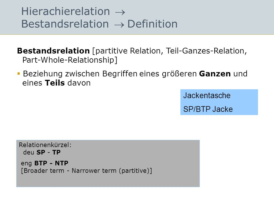 Hierachierelation Bestandsrelation Definition Bestandsrelation [partitive Relation, Teil-Ganzes-Relation, Part-Whole-Relationship] Beziehung zwischen