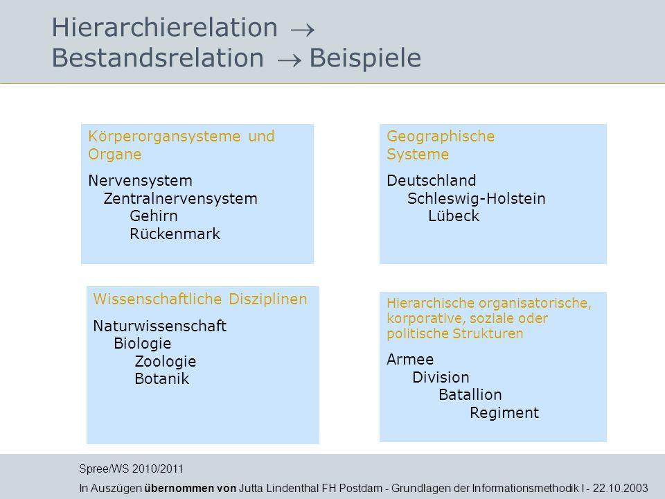 Hierarchierelation Bestandsrelation Beispiele Körperorgansysteme und Organe Nervensystem Zentralnervensystem Gehirn Rückenmark Geographische Systeme D