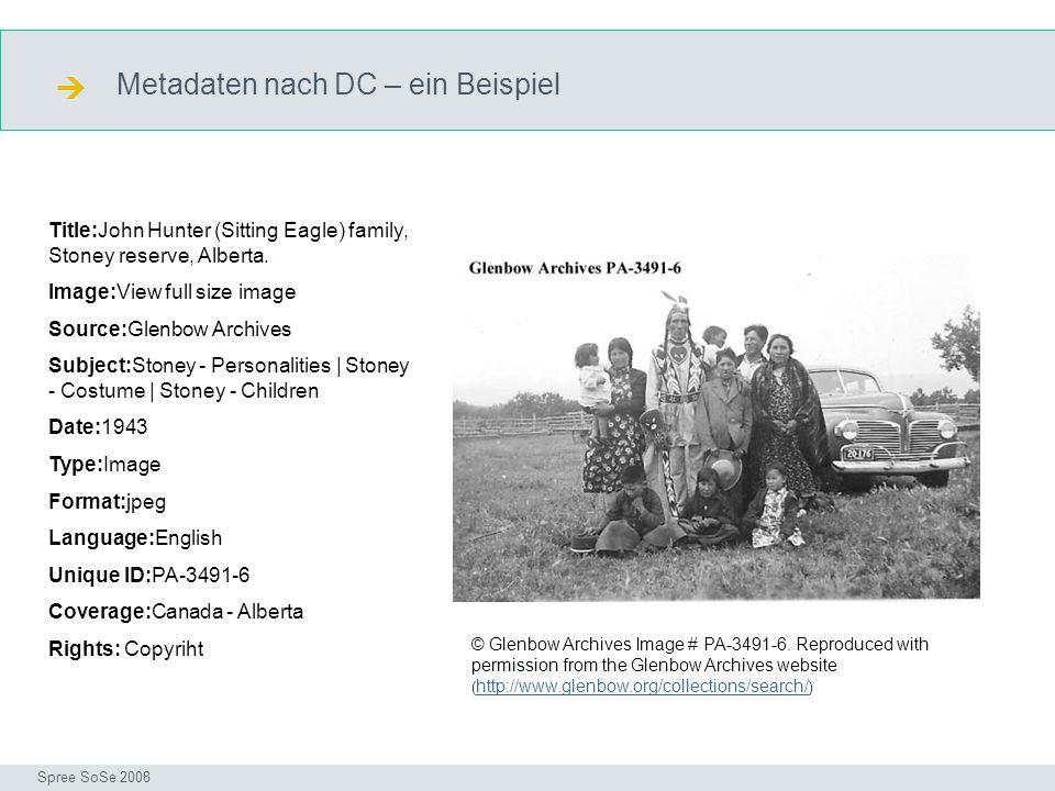 Metadaten nach DC – ein Beispiel DC Seminar I-Prax: Inhaltserschließung visueller Medien, 5.10.2004 Spree SoSe 2008 Title:John Hunter (Sitting Eagle) family, Stoney reserve, Alberta.