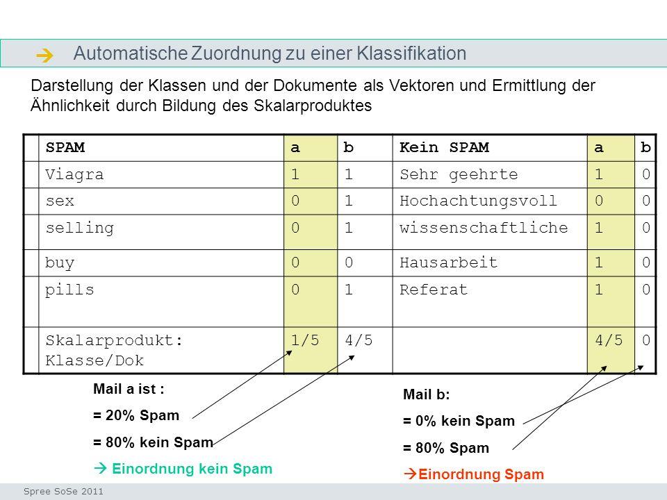 Automatische Zuordnung zu einer Klassifikation ausgangssituation Seminar I-Prax: Inhaltserschließung visueller Medien, 5.10.2004 Spree SoSe 2011 SPAMa