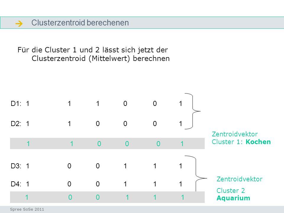 Neues Dokument mit den Zentroidvektoren vergleichen indexvektor Seminar I-Prax: Inhaltserschließung visueller Medien, 5.10.2004 Spree SoSe 2011 Welchem Cluster wird das neue Dokument D5 zugeordnet.