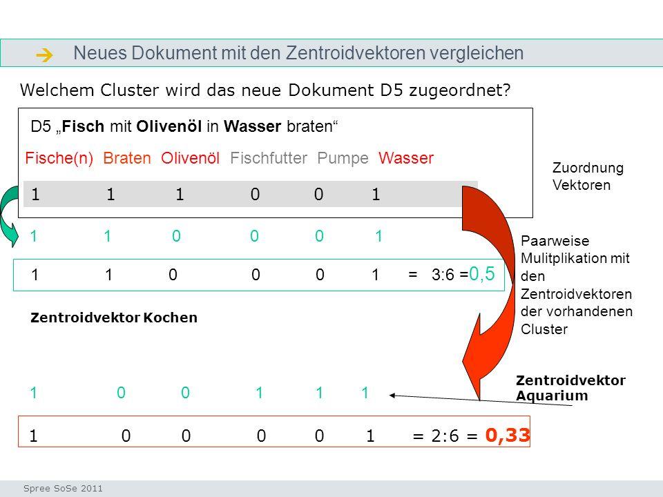 Neues Dokument wird Cluster Kochen zugeordnet indexvektor Seminar I-Prax: Inhaltserschließung visueller Medien, 5.10.2004 Spree SoSe 2011 Welchem Cluster wird das neue Dokument D5 zugeordnet.