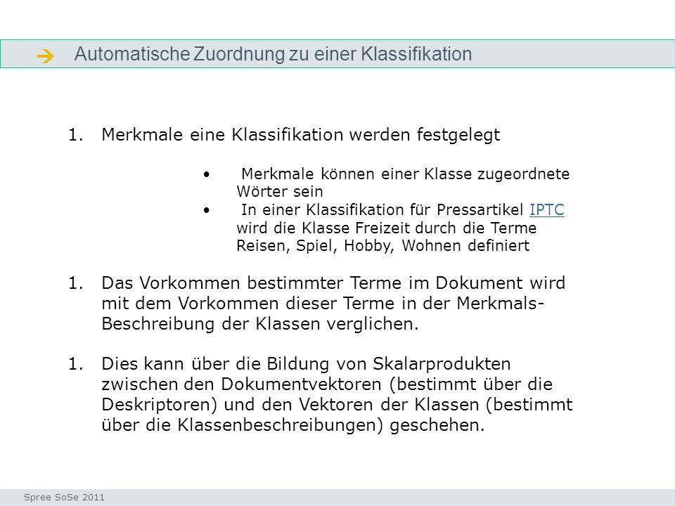 Automatische Zuordnung zu einer Klassifikation Automatische klassifikation Seminar I-Prax: Inhaltserschließung visueller Medien, 5.10.2004 Spree SoSe