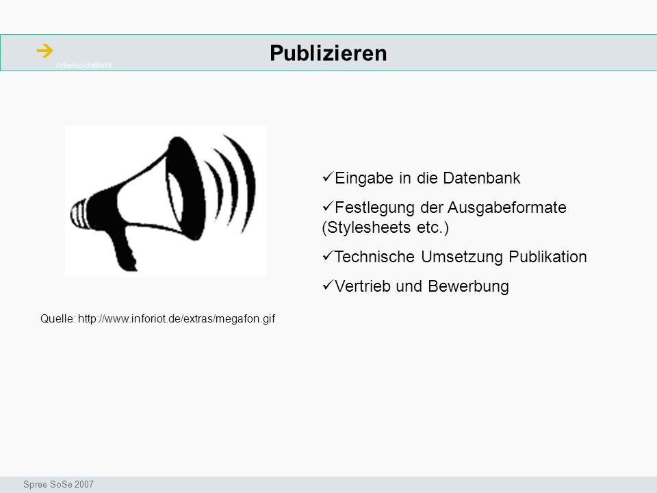 Publizieren ArbeitsschritteW Seminar I-Prax: Inhaltserschließung visueller Medien, 5.10.2004 Spree SoSe 2007 Eingabe in die Datenbank Festlegung der Ausgabeformate (Stylesheets etc.) Technische Umsetzung Publikation Vertrieb und Bewerbung Quelle: http://www.inforiot.de/extras/megafon.gif
