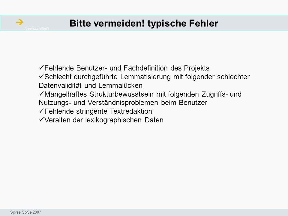 Ressourcen ArbeitsschritteW Seminar I-Prax: Inhaltserschließung visueller Medien, 5.10.2004 Spree SoSe 2007 Schlaefer, Michael: Lexikologie und Lexikographie : eine Einführung am Beispiel deutscher Wörterbücher.