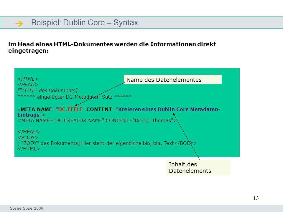 13 Beispiel: Dublin Core – Syntax Definition Seminar I-Prax: Inhaltserschließung visueller Medien, 5.10.2004 Spree Sose 2009 [