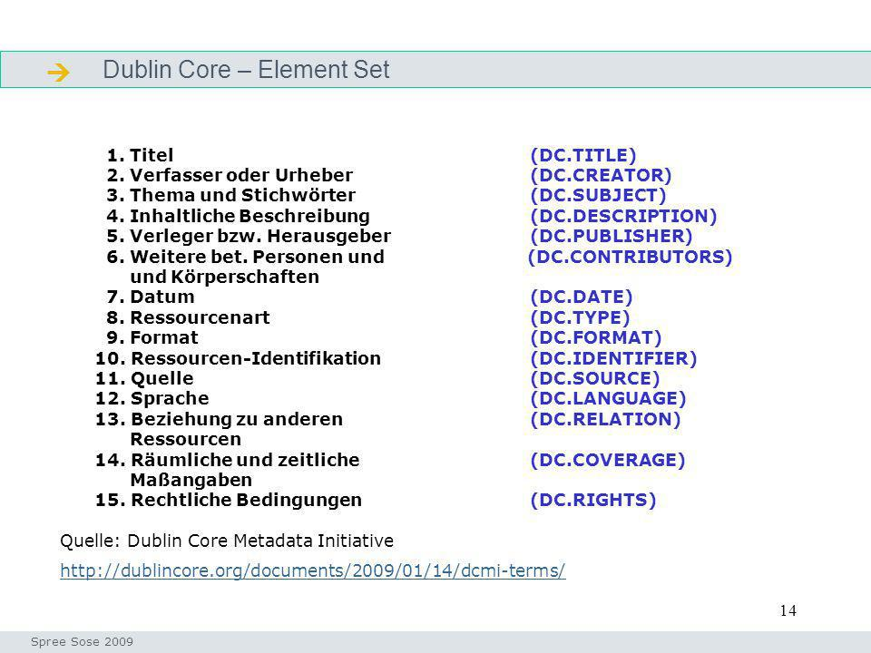 14 Dublin Core – Element Set Definition Seminar I-Prax: Inhaltserschließung visueller Medien, 5.10.2004 Spree Sose 2009 1. Titel (DC.TITLE) 2. Verfass
