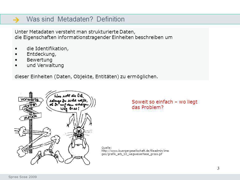 3 Was sind Metadaten? Definition Definition Unter Metadaten versteht man strukturierte Daten, die Eigenschaften informationstragender Einheiten beschr