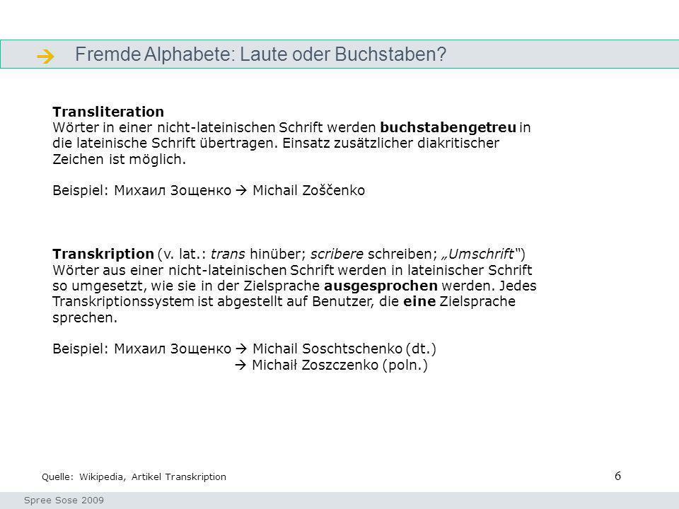 6 Fremde Alphabete: Laute oder Buchstaben? Alphabete Seminar I-Prax: Inhaltserschließung visueller Medien, 5.10.2004 Spree Sose 2009 Quelle: Wikipedia