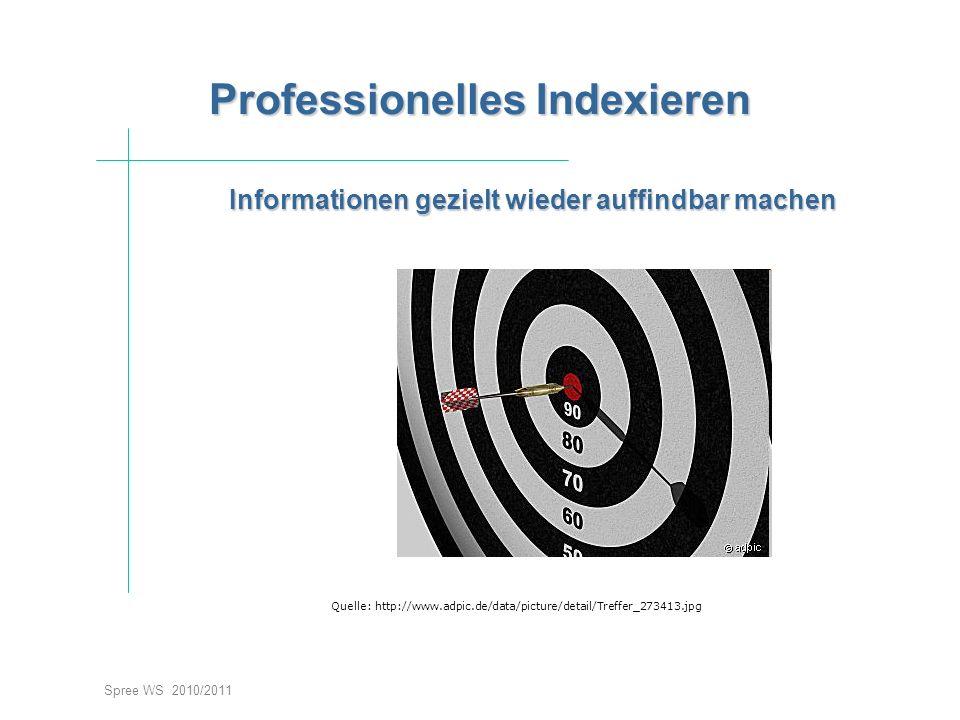 Informationen gezielt wieder auffindbar machen Spree WS 2010/2011 Professionelles Indexieren Quelle: http://www.adpic.de/data/picture/detail/Treffer_2