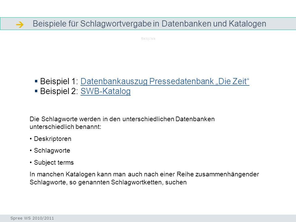 Beispiele für Schlagwortvergabe in Datenbanken und Katalogen Beispiele Beispiel 1: Datenbankauszug Pressedatenbank Die ZeitDatenbankauszug Pressedaten