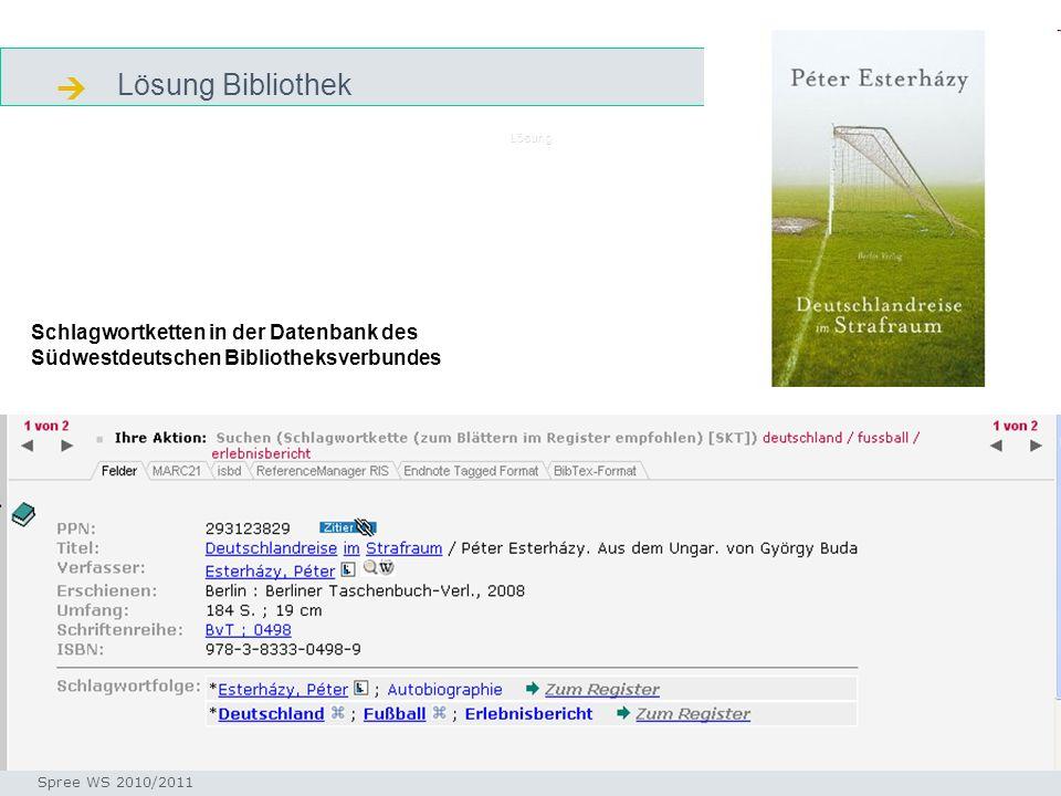 Lösung Bibliothek Seminar I-Prax: Inhaltserschließung visueller Medien, 5.10.2004 Spree WS 2010/2011 Lösung Schlagwortketten in der Datenbank des Südw