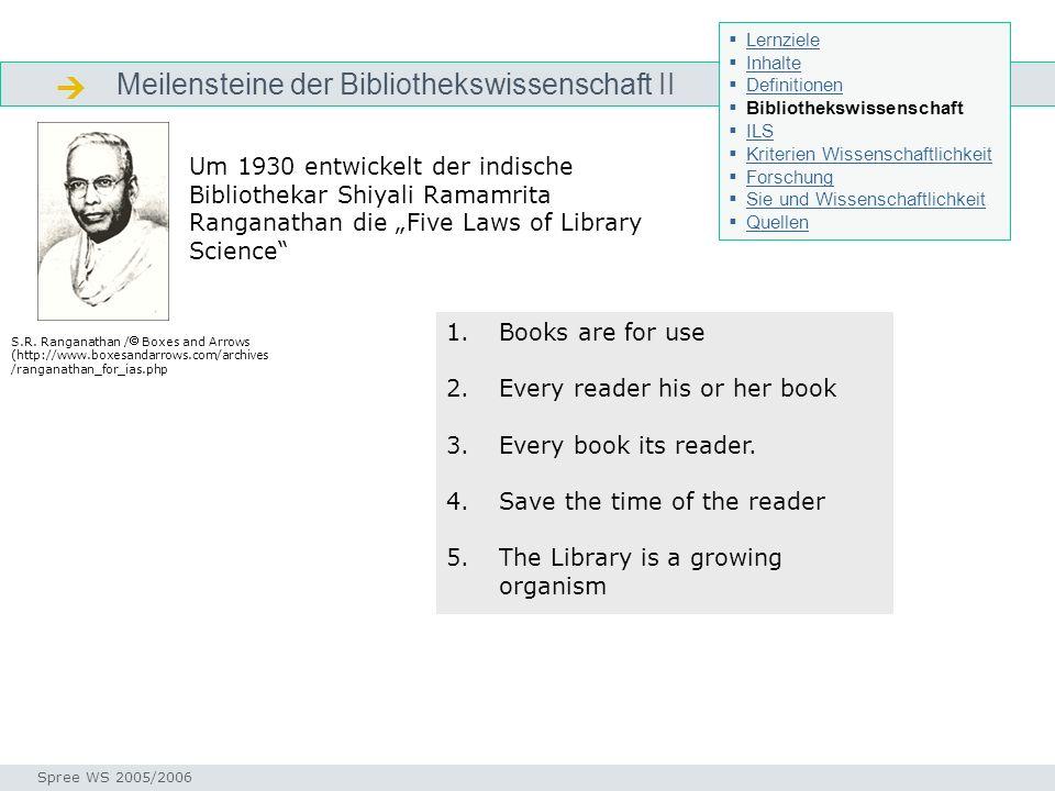 Meilensteine der Bibliothekswissenschaft II Geschichte bibliothekswissenschaft Seminar I-Prax: Inhaltserschließung visueller Medien, 5.10.2004 Spree W