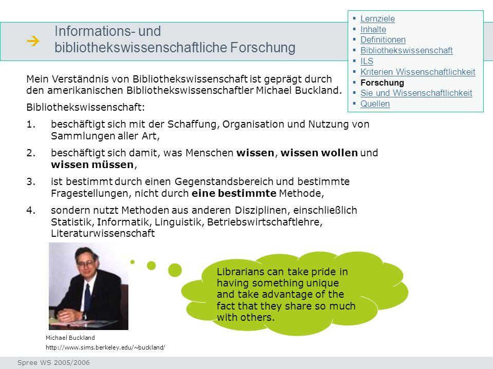 Informations- und bibliothekswissenschaftliche Forschung Forschung Seminar I-Prax: Inhaltserschließung visueller Medien, 5.10.2004 Spree WS 2005/2006