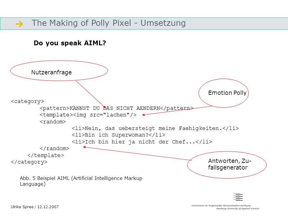 The Making of Polly Pixel - Umsetzung Gliederung Ulrike Spree / 12.12.2007 <category> KANNST DU DAS NICHT AENDERN KANNST DU DAS NICHT AENDERN Nein, da