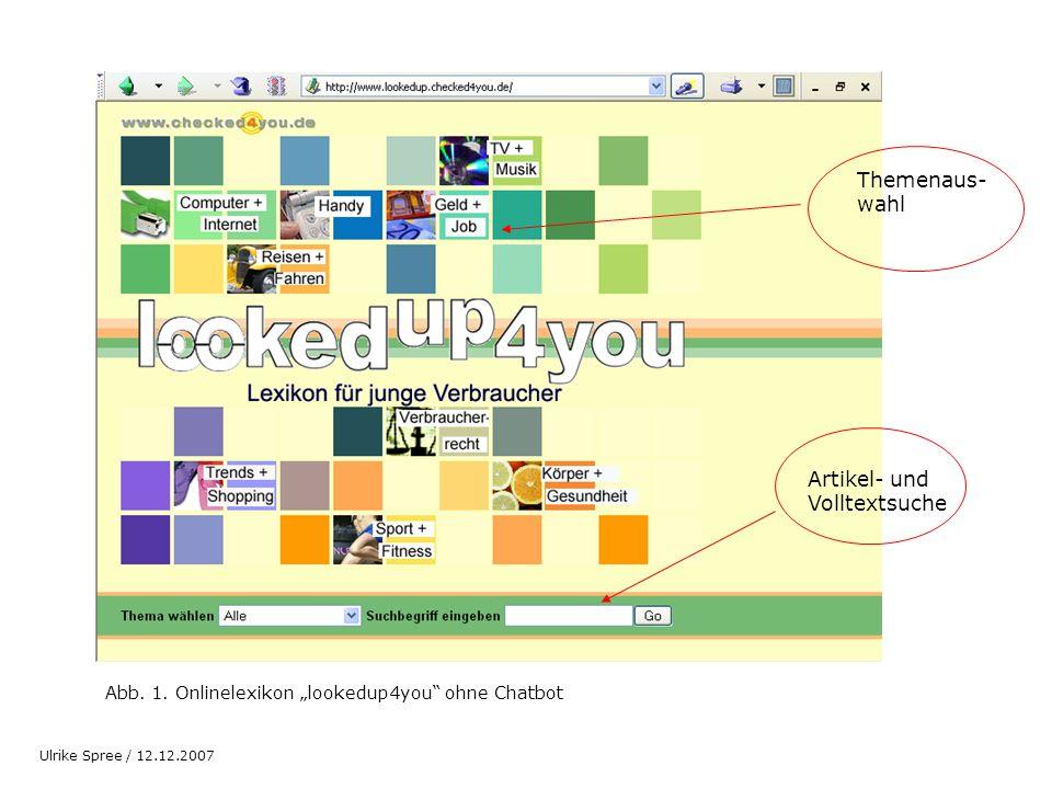 Abb. 1. Onlinelexikon lookedup4you ohne Chatbot Themenaus- wahl Artikel- und Volltextsuche Ulrike Spree / 12.12.2007