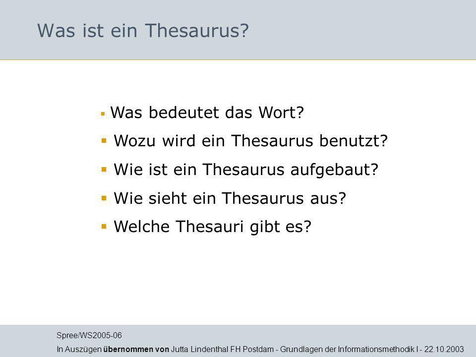 Spree/WS2005-06 In Auszügen übernommen von Jutta Lindenthal FH Postdam - Grundlagen der Informationsmethodik I - 22.10.2003 Was bedeutet das Wort? Woz