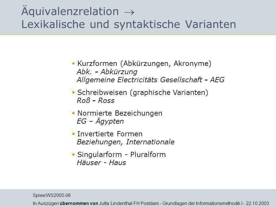 Äquivalenzrelation Lexikalische und syntaktische Varianten Kurzformen (Abkürzungen, Akronyme) Abk. - Abkürzung Allgemeine Electricitäts Gesellschaft -