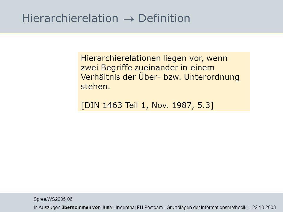 Hierarchierelation Definition Hierarchierelationen liegen vor, wenn zwei Begriffe zueinander in einem Verhältnis der Über- bzw. Unterordnung stehen. [