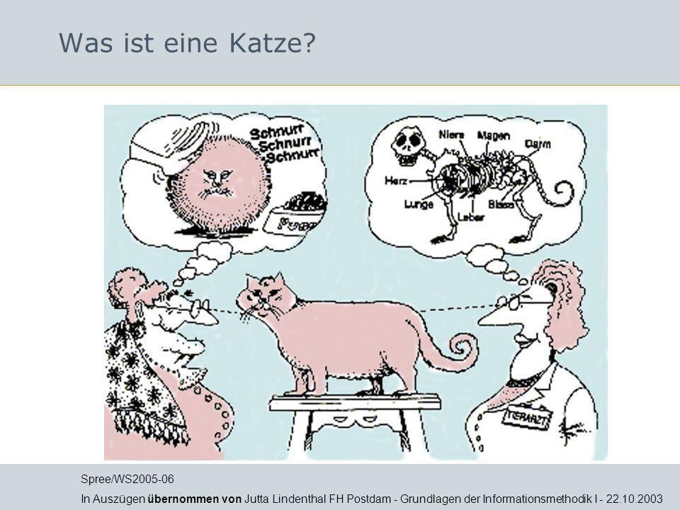Was ist eine Katze? Spree/WS2005-06 In Auszügen übernommen von Jutta Lindenthal FH Postdam - Grundlagen der Informationsmethodik I - 22.10.2003