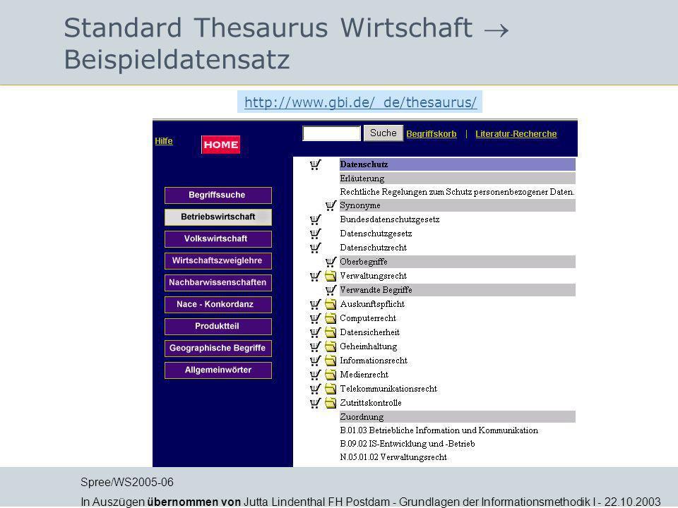 Standard Thesaurus Wirtschaft Beispieldatensatz http://www.gbi.de/_de/thesaurus/ Spree/WS2005-06 In Auszügen übernommen von Jutta Lindenthal FH Postda