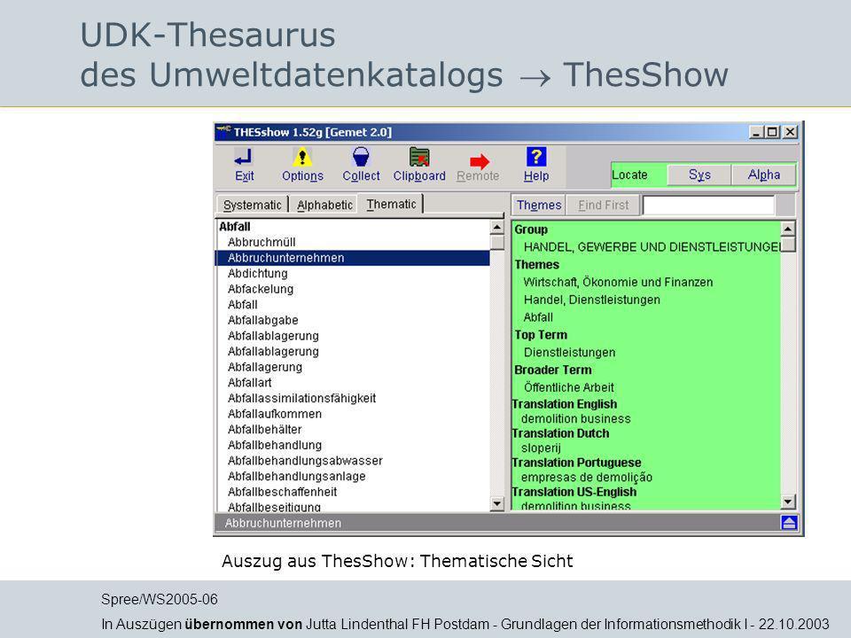 UDK-Thesaurus des Umweltdatenkatalogs ThesShow Auszug aus ThesShow: Thematische Sicht Spree/WS2005-06 In Auszügen übernommen von Jutta Lindenthal FH P