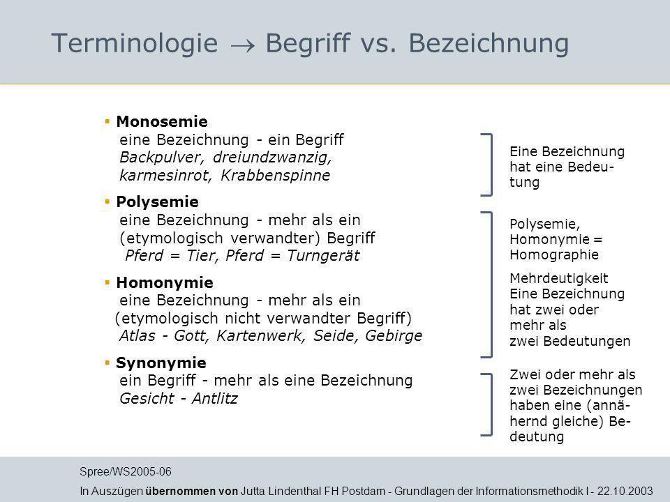Terminologie Terminologische Kontrolle Ein Thesaurus bietet folgende Verfahren für die terminologische Kontrolle: Formale Normierung der Bezeichnungen nach Ansetzungsregeln (z.B.
