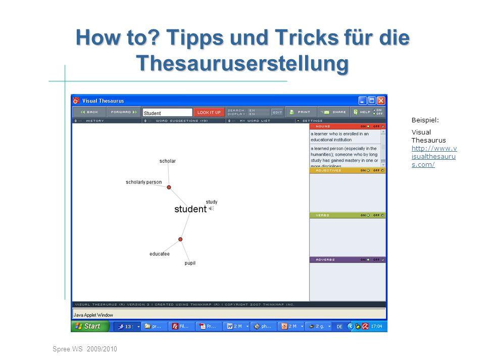 Spree WS 2009/2010 How to? Tipps und Tricks für die Thesauruserstellung Beispiel: Visual Thesaurus http://www.v isualthesauru s.com/ http://www.v isua