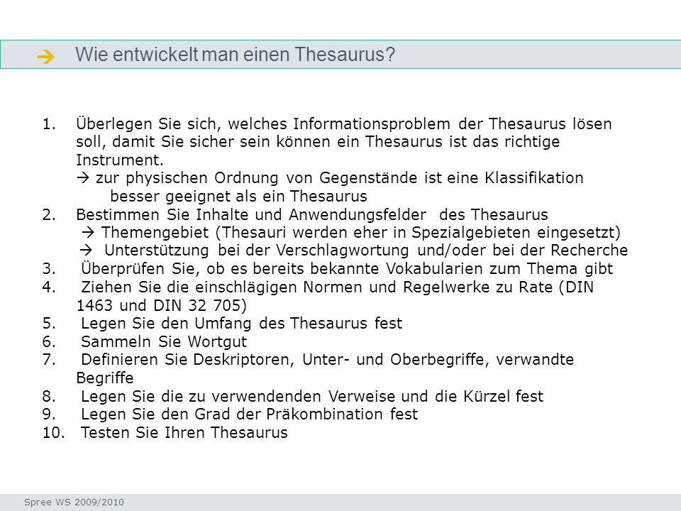 Wie entwickelt man einen Thesaurus? Wie? Seminar I-Prax: Inhaltserschließung visueller Medien, 5.10.2004 Spree WS 2009/2010 1.Überlegen Sie sich, welc