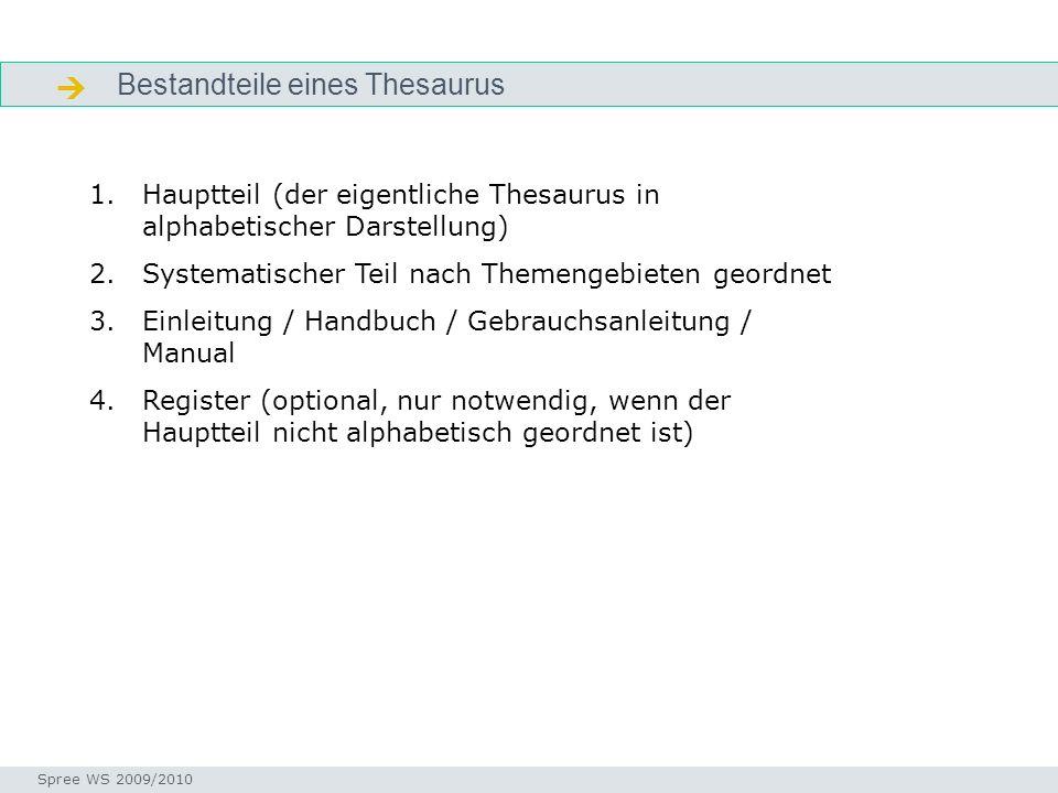 Bestandteile eines Thesaurus Bestandteile Seminar I-Prax: Inhaltserschließung visueller Medien, 5.10.2004 Spree WS 2009/2010 1.Hauptteil (der eigentli