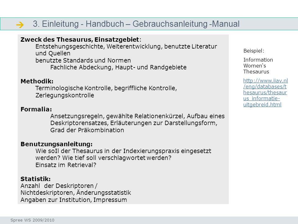 3. Einleitung - Handbuch – Gebrauchsanleitung -Manual Manual Seminar I-Prax: Inhaltserschließung visueller Medien, 5.10.2004 Spree WS 2009/2010 Zweck