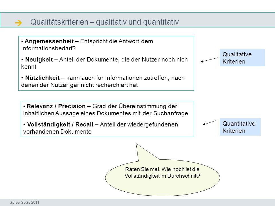 Qualitätskriterien – qualitativ und quantitativ Precision & recall Seminar I-Prax: Inhaltserschließung visueller Medien, 5.10.2004 Spree SoSe 2011 Angemessenheit – Entspricht die Antwort dem Informationsbedarf.