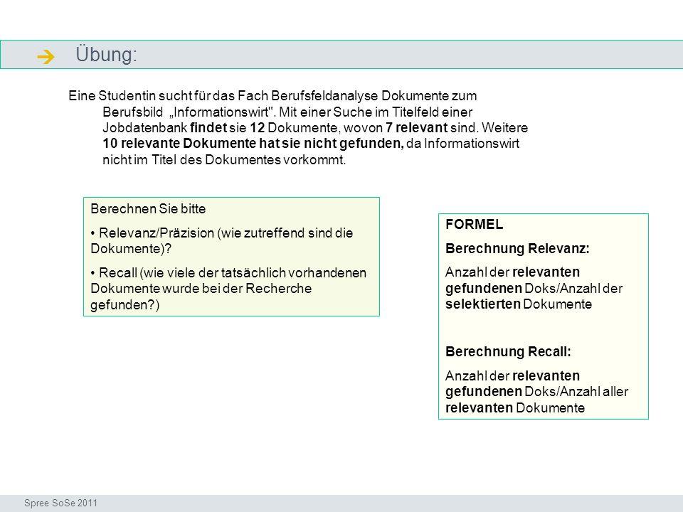 Übung: Lösung genau Seminar I-Prax: Inhaltserschließung visueller Medien, 5.10.2004 Spree SoSe 2011 Die Präzision liegt bei (7/12 ca.