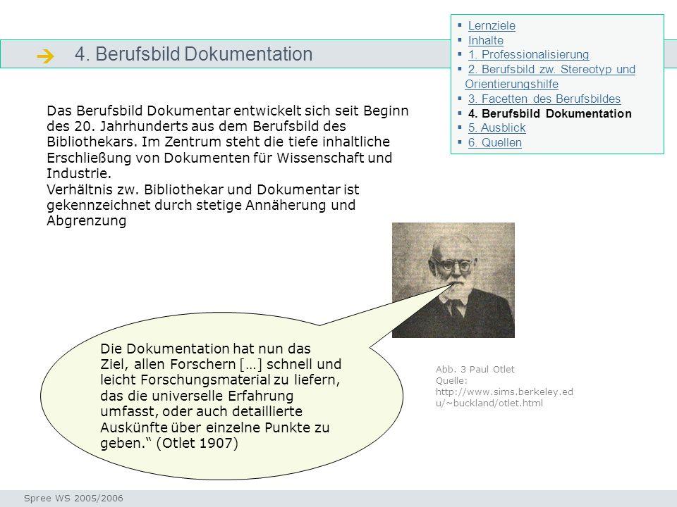 4. Berufsbild Dokumentation Dokumentation Seminar I-Prax: Inhaltserschließung visueller Medien, 5.10.2004 Spree WS 2005/2006 Das Berufsbild Dokumentar