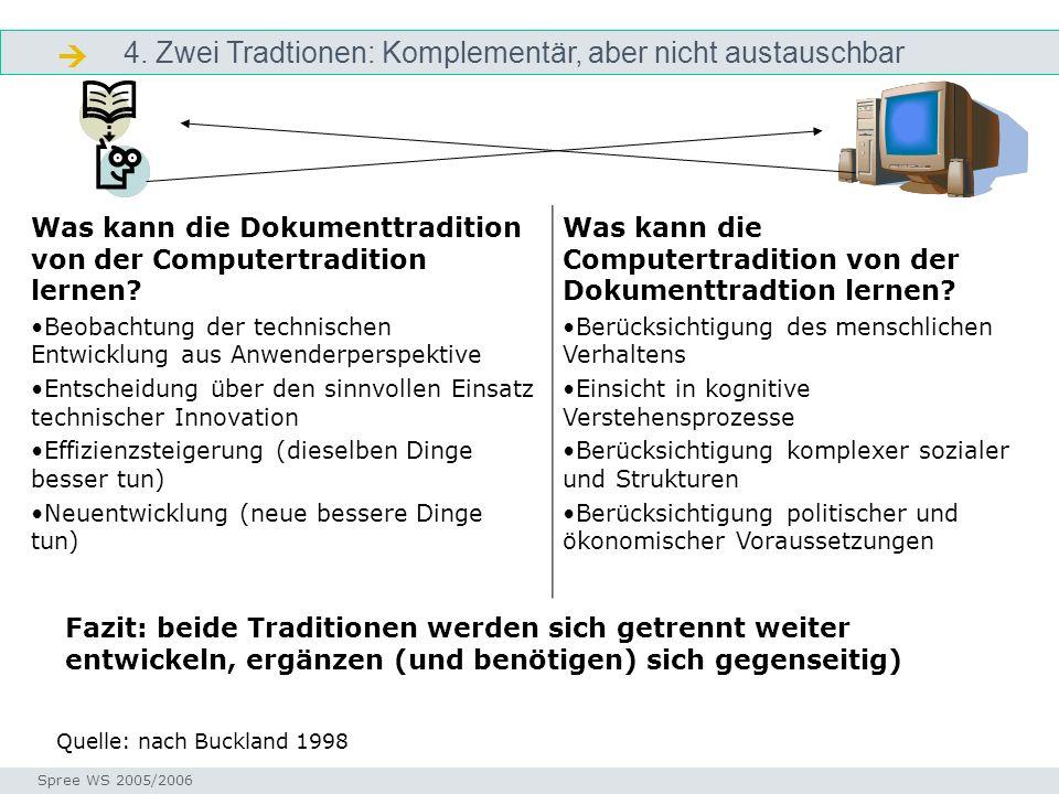 4. Zwei Tradtionen: Komplementär, aber nicht austauschbar Dokumentation Seminar I-Prax: Inhaltserschließung visueller Medien, 5.10.2004 Spree WS 2005/