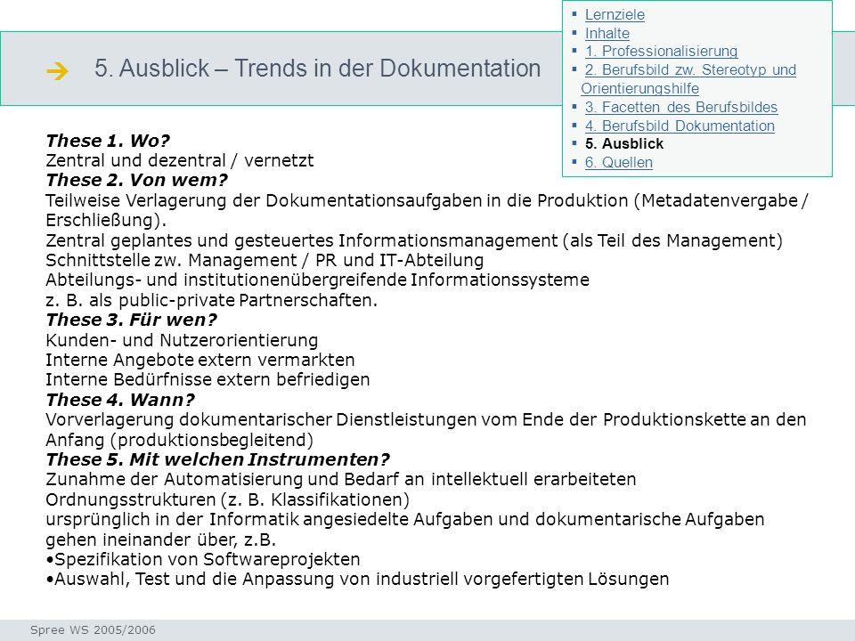 5. Ausblick – Trends in der Dokumentation Ausblick Seminar I-Prax: Inhaltserschließung visueller Medien, 5.10.2004 Spree WS 2005/2006 These 1. Wo? Zen