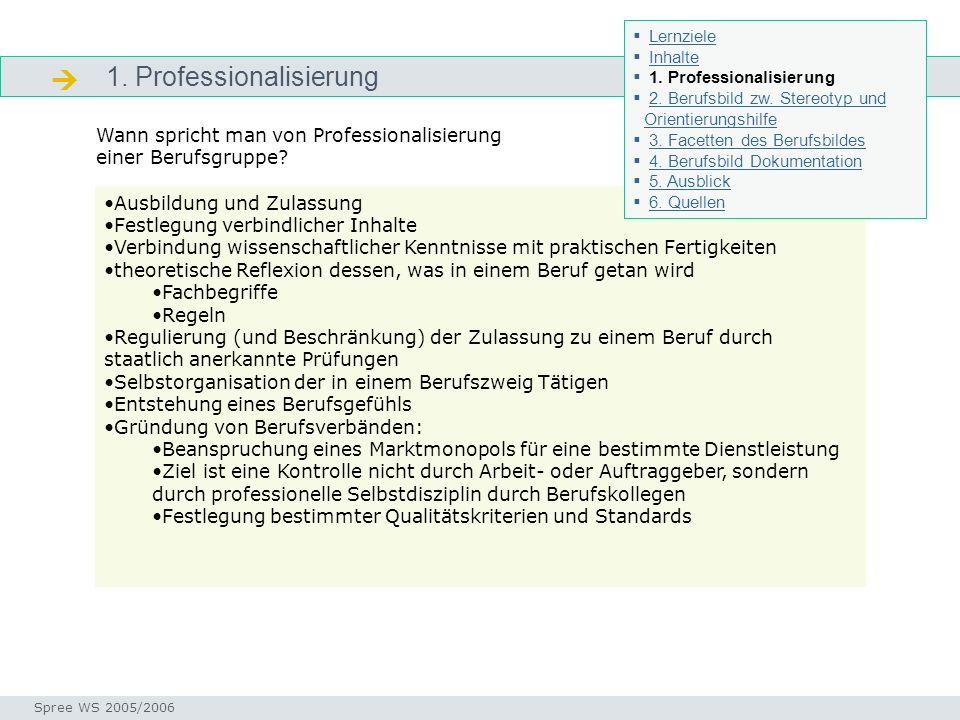 1. Professionalisierung Professionalisierung Seminar I-Prax: Inhaltserschließung visueller Medien, 5.10.2004 Spree WS 2005/2006 Ausbildung und Zulassu