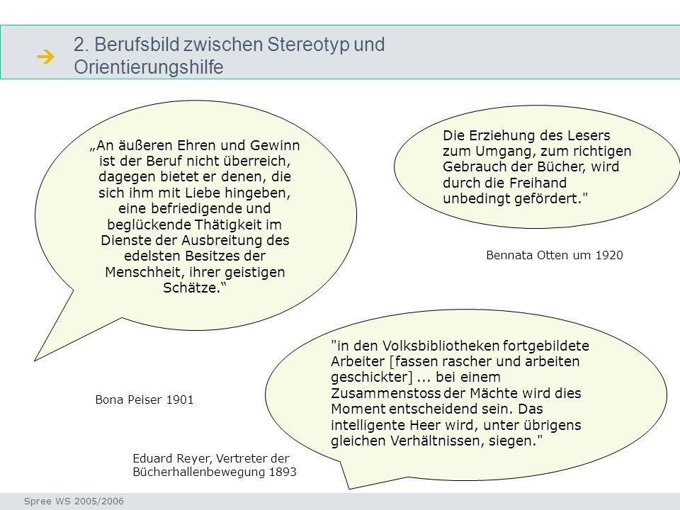 2. Berufsbild zwischen Stereotyp und Orientierungshilfe Stereotyp Seminar I-Prax: Inhaltserschließung visueller Medien, 5.10.2004 Spree WS 2005/2006