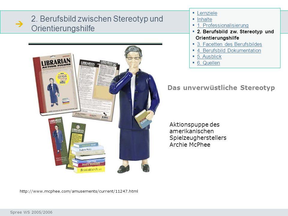 2. Berufsbild zwischen Stereotyp und Orientierungshilfe Stereotyp Seminar I-Prax: Inhaltserschließung visueller Medien, 5.10.2004 Spree WS 2005/2006 A