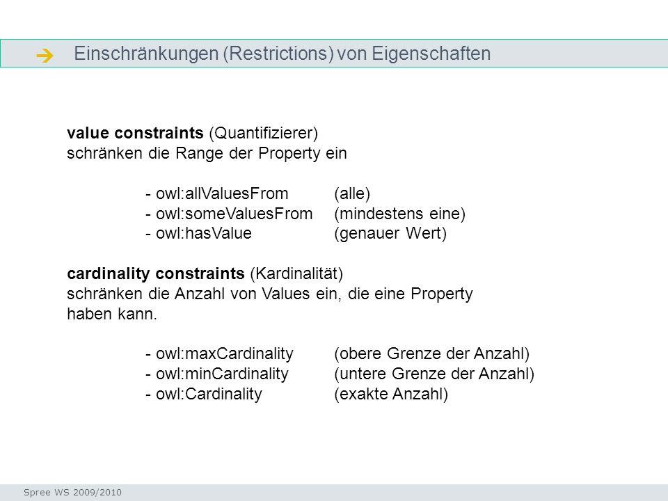 Einschränkungen (Restrictions) von Eigenschaften Was sind Facetten? Seminar I-Prax: Inhaltserschließung visueller Medien, 5.10.2004 Spree WS 2009/2010