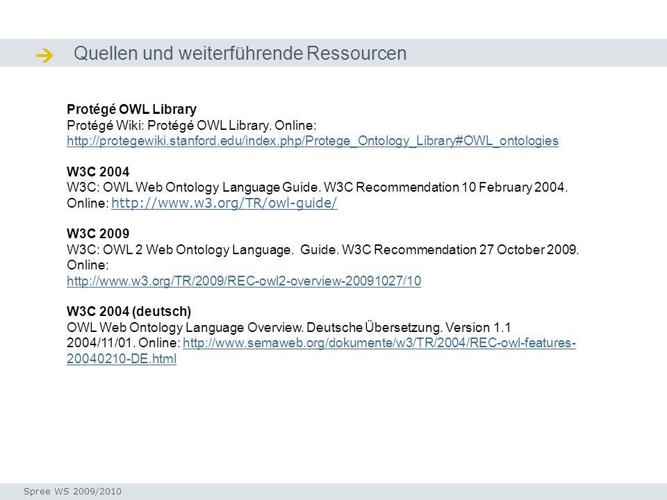 Quellen und weiterführende Ressourcen Quellen / Ressourcen Protégé OWL Library Protégé Wiki: Protégé OWL Library. Online: http://protegewiki.stanford.