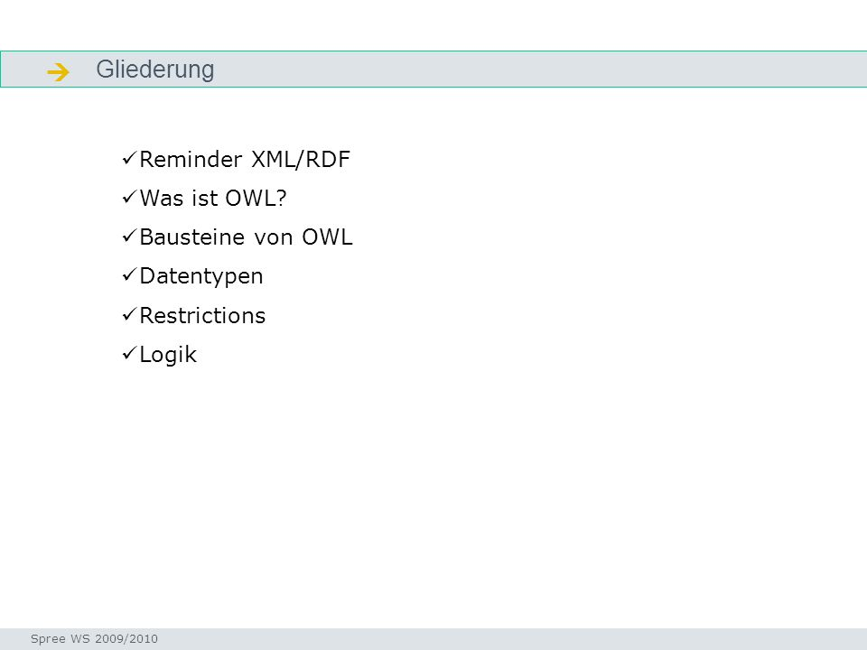 Gliederung Facetten Seminar I-Prax: Inhaltserschließung visueller Medien, 5.10.2004 Spree WS 2009/2010 Reminder XML/RDF Was ist OWL? Bausteine von OWL