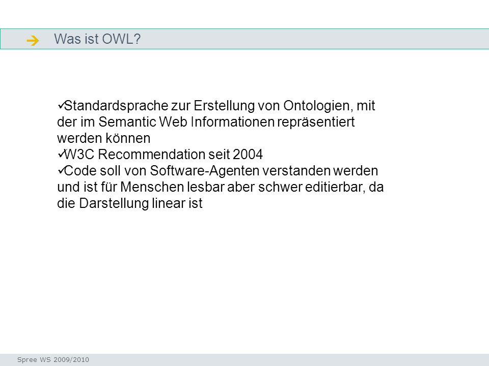 Was ist OWL? Facetten Seminar I-Prax: Inhaltserschließung visueller Medien, 5.10.2004 Spree WS 2009/2010 Standardsprache zur Erstellung von Ontologien