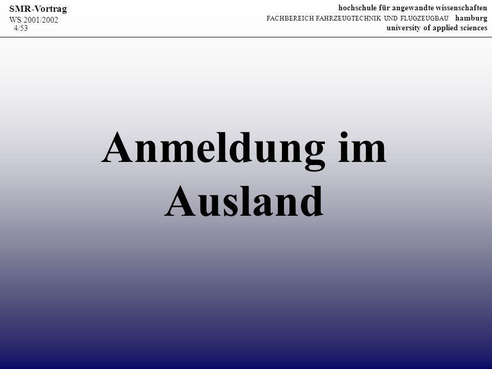WS 2001/2002 SMR-Vortrag hochschule für angewandte wissenschaften FACHBEREICH FAHRZEUGTECHNIK UND FLUGZEUGBAU hamburg university of applied sciences 15/53 Woraus besteht die Anmeldung beim Deutschen Patent- und Markenamt.