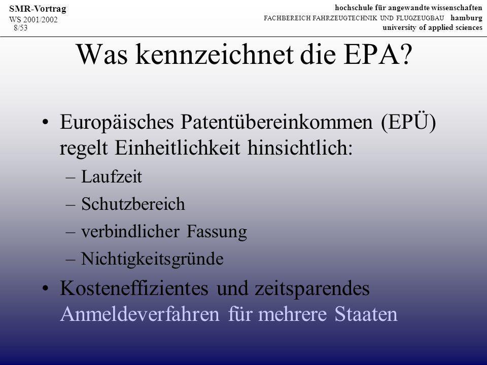 WS 2001/2002 SMR-Vortrag hochschule für angewandte wissenschaften FACHBEREICH FAHRZEUGTECHNIK UND FLUGZEUGBAU hamburg university of applied sciences 19/53 Der Antrag auf Erteilung eines Patents