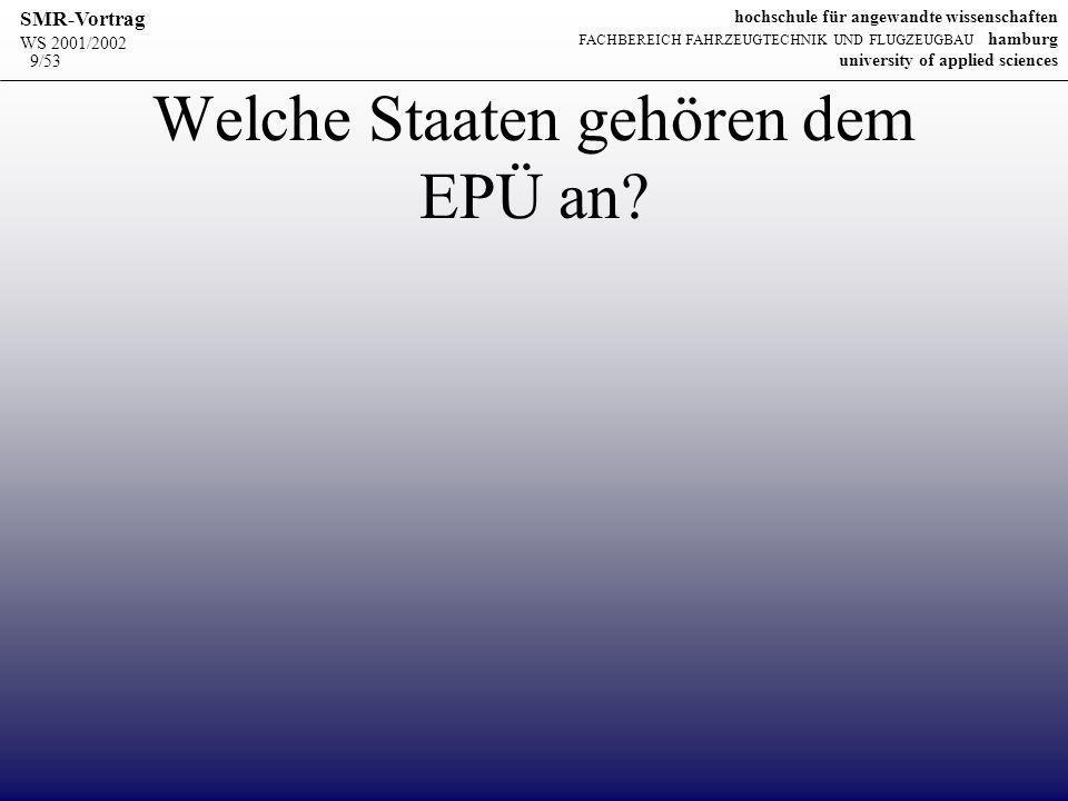 WS 2001/2002 SMR-Vortrag hochschule für angewandte wissenschaften FACHBEREICH FAHRZEUGTECHNIK UND FLUGZEUGBAU hamburg university of applied sciences 9/53 Welche Staaten gehören dem EPÜ an?