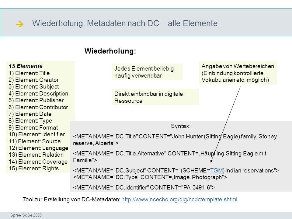 Wiederholung: Metadaten nach DC – alle Elemente DC Seminar I-Prax: Inhaltserschließung visueller Medien, 5.10.2004 Spree SoSe 2009 15 Elemente 1) Elem
