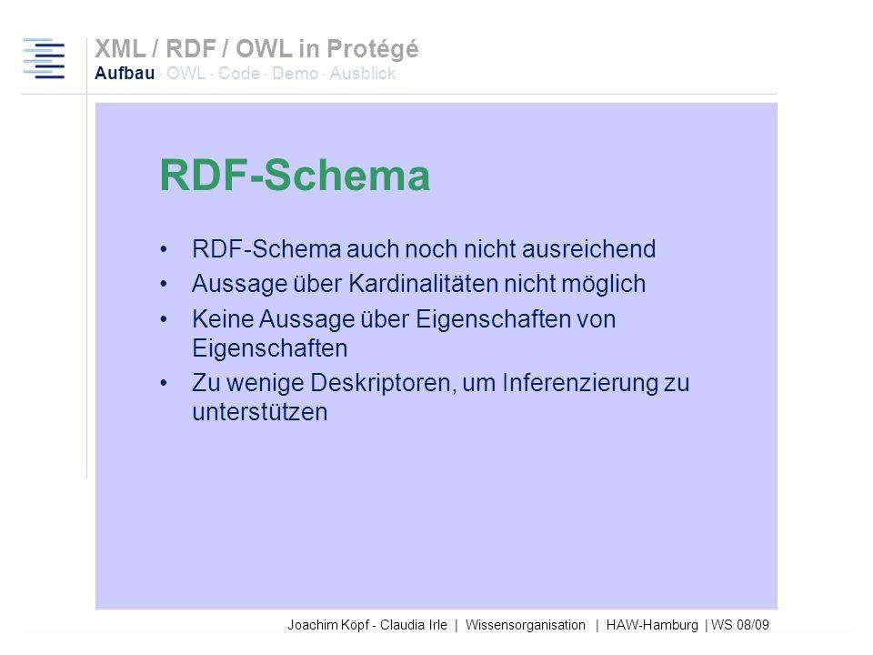 Joachim Köpf - Claudia Irle | Wissensorganisation | HAW-Hamburg | WS 08/09 Neutrale Schema-Sprache Enthält Basisstrukturen für Klassen und Properties