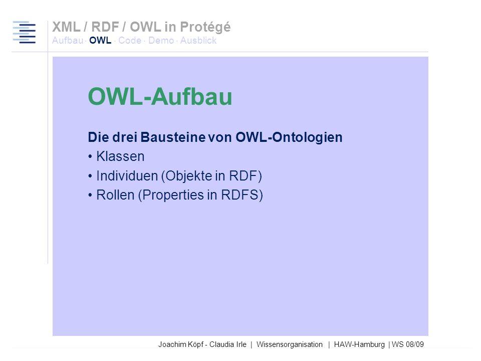 Joachim Köpf - Claudia Irle | Wissensorganisation | HAW-Hamburg | WS 08/09 Lite DL Full OWL-Full OWL-DL OWL-Lite XML / RDF / OWL in Protégé Aufbau · O