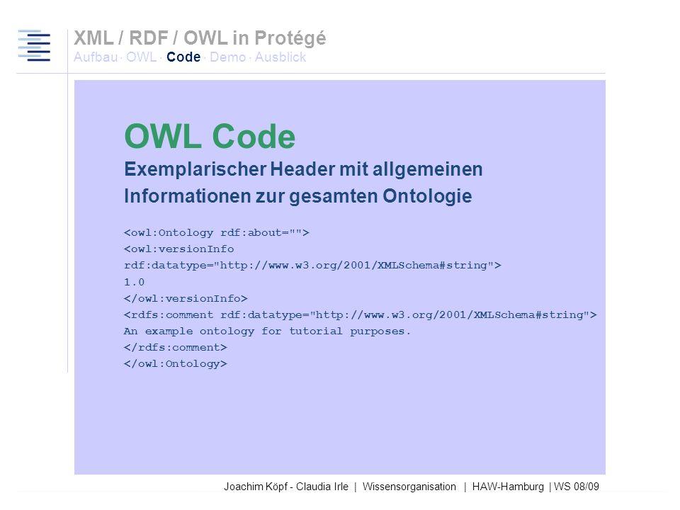 Joachim Köpf - Claudia Irle | Wissensorganisation | HAW-Hamburg | WS 08/09 Exemplarischer Header mit Namespace-Deklaration <rdf:RDF xmlns:rdf=